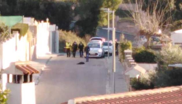 Imagen del perro tendido en el asfalto de la calle de Calafell en la que fue disparado por el policía.