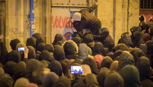 Manifestación en Pamplona en apoyo al gaztetxe Maravillas