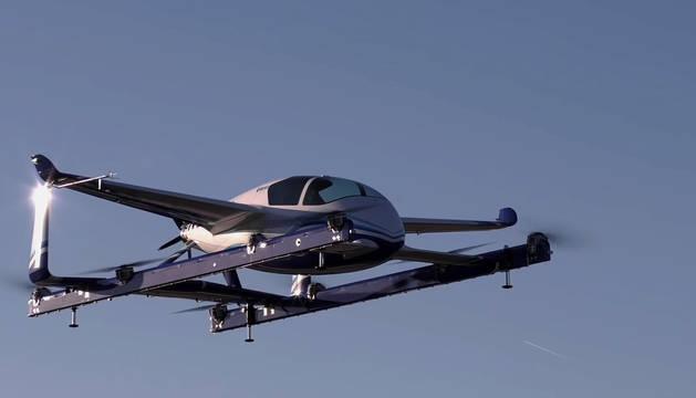Foto del prototipo de vehículo autónomo aéreo eléctrico de despegue y aterrizaje vertical (eVTOL) .
