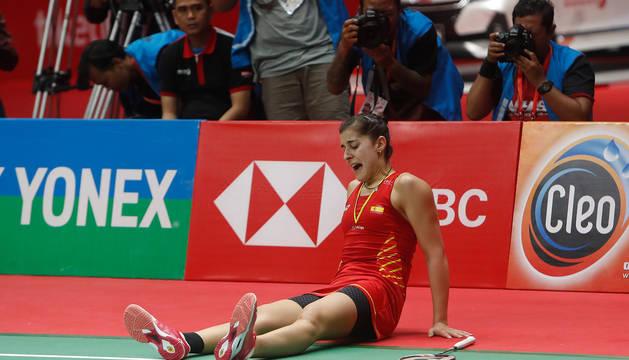 Carolina Marín, tras sufrir su lesión en el Masters de Indonesia.