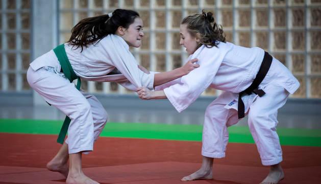 Un momento de la competición en la primera jornada de judo en los Juegos Deportivos de Navarra. Infantiles y cadetes se citaron este pasado sábado en Mendillorri.