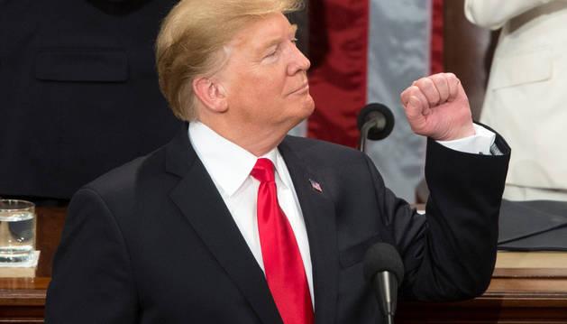 Imagen del presidente de Estados Unidos, Donald Trump, en un momento del discurso del Estado de la Unión.