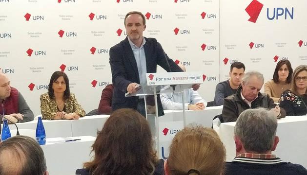José Javier Esparza durante el discurso en el Comité Regional de UPN celebrado en Tudela.