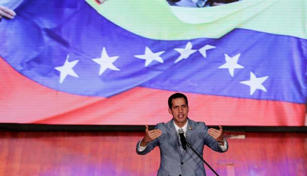 El líder opositor, Juan  Guaidó, durante un acto en