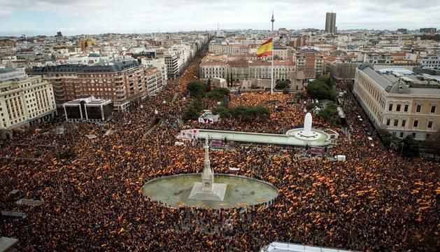 Manifestación contra Sánchez y a favor de elecciones en Madrid