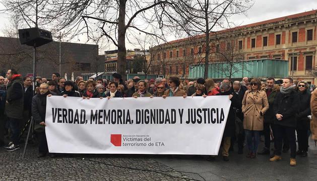 Un momento de la concentración en Pamplona.