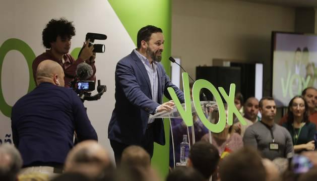 El líder de Vox, Santiago Abascal, el día 7 en Pamplona.