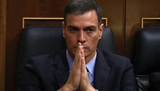 Foto del presidente del Gobierno, Pedro Sánchez, durante la segunda jornada del debate de las enmiendas a la totalidad del proyecto de Presupuestos Generales del Estado.