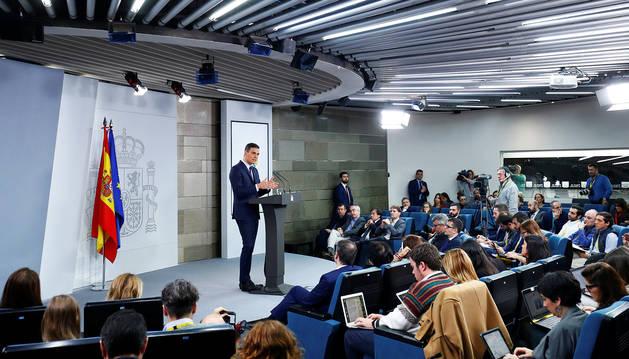 Pedro Sánchez, durante la rueda de prensa en la que anunció el adelanto electoral.