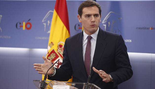 Foto del presidente de Ciudadanos, Albert Rivera, comparece en rueda de prensa tras el anuncio del Gobierno de la convocatoria de elecciones para el 28 de abril de 2019.