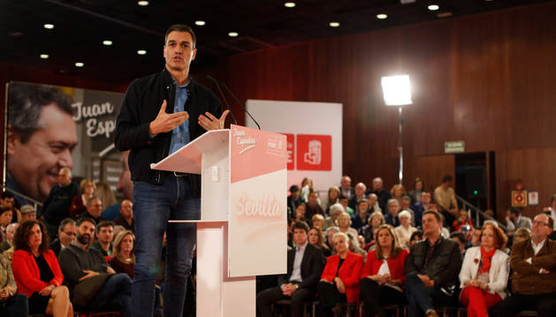El secretario general del PSOE y presidente del Gobierno, Pedro Sánchez, interviene en el acto de presentación de la candidatura de Juan Espadas a la Alcaldía de Sevilla.