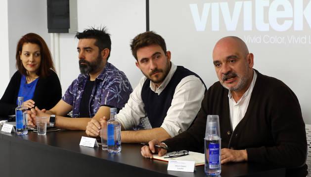 Desde la izquierda, Lorena Ares, Carlos Fernández de Vigo, Javier Celay y Arturo Cisneros, ayer, en la presentación en Creanavarra de las dos nuevas formaciones que se van a impartir.