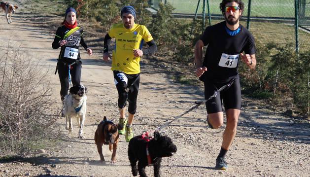 Tres corredores con sus perros en el primer Canicross Villa de Azagra que se disputó el domingo