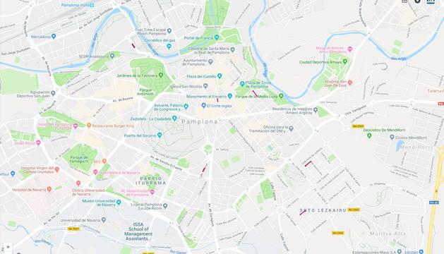 Mapa con las alteraciones del tráfico en Pamplona para este lunes 19 de febrero.
