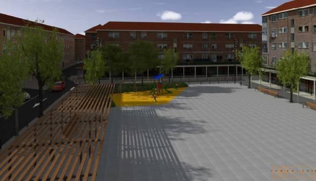 Fotomontaje del nuevo diseño de la plaza Zumalakarregi, tras la actuación contemplada a lo largo de este año por el Ayuntamiento de Alsasua.