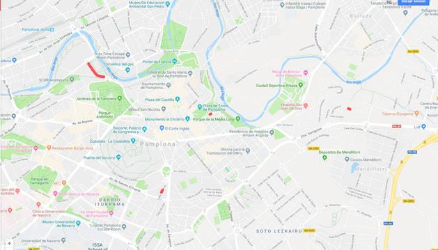 Mapa con los puntos señalados de las alteraciones del tráfico en Pamplona y la Comarca este martes, 19 de febrero.