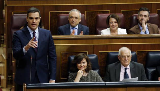 El presidente de Gobierno, Pedro Sánchez, interviene durante la sesión de control al Gobierno en el Congreso.