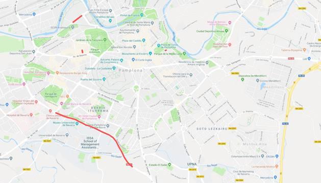 Mapa con los puntos señalados de las alteraciones del tráfico en Pamplona y la Comarca este jueves, 21 de febrero.