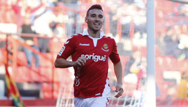 Imanol García celebra el gol que marcó en su debut ante el Almería el pasado 24 de noviembre.
