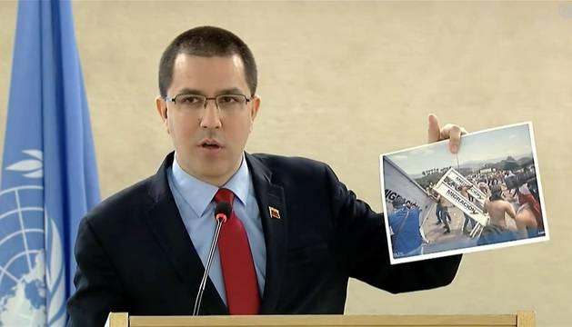 Captura del vídeo institucional de la ONU, del ministro de Relaciones Exteriores de Venezuela, Jorge Arreaza, durante su intervención en el Consejo de Derechos Humanos de la ONU, en la que una veintena de gobiernos boicotiearon su discurso y abandonaron la sala apenas éste ingreso en ella.