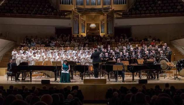 El Orfeón, el jueves en el escenario del Auditorio Nacional deMúsica.