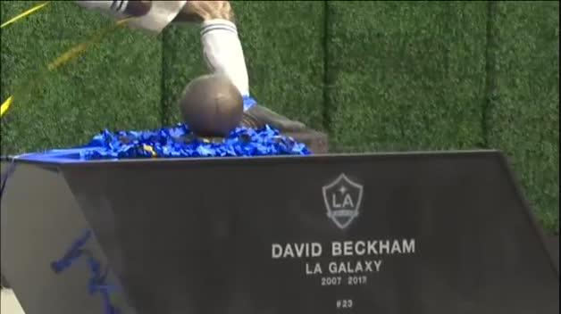 Inauguración de una estatua en homenaje a David Beckham en Los Ángeles