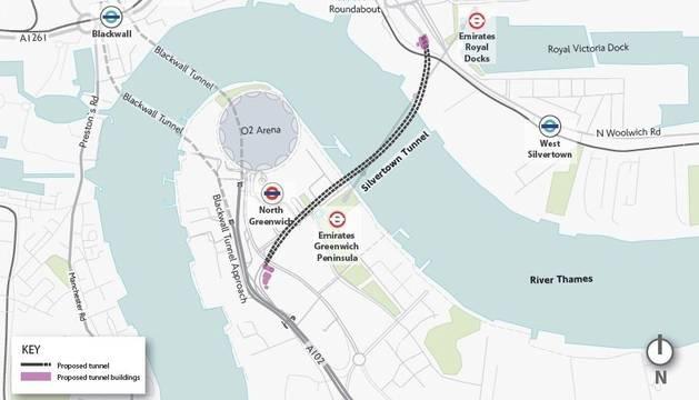 Plano del túnel bajo el Támesis por el que pujan las dos constructoras españolas.