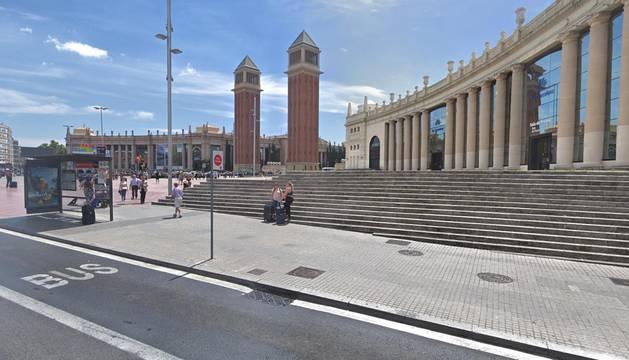 Vista de la Plaza de España en Barcelona, donde se produjo el rescate.
