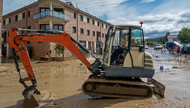 Una imagen de las inundaciones acaecidas en Villatuerta al final del verano de 2015.