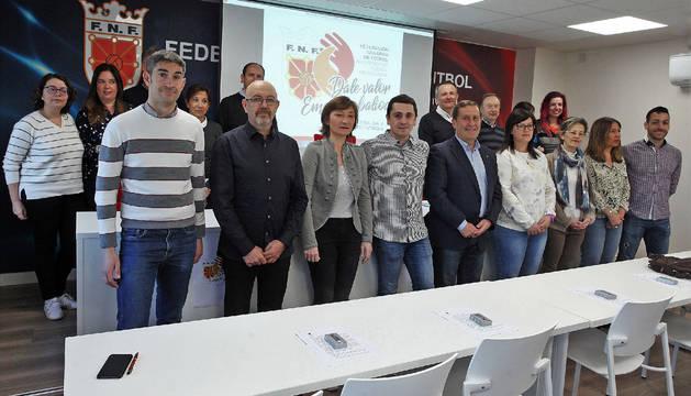 Los miembros de la Comisión de Valores de la FNF, acompañados por Alberto Undiano y Eduardo Prieto.