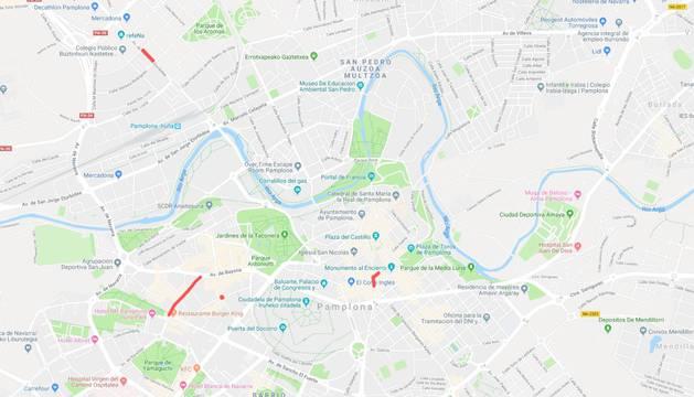 Mapa de las alteraciones de tráfico en Pamplona para este jueves, 7 de marzo.