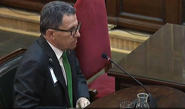 Foto del jefe de la Guardia Civil en Cataluña, Ángel Gozalo Pascual, durante su declaración como testigo en la decimotercera jornada del juicio del procés.