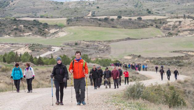 Un grupo de peregrinos de la Ribera se adentra en la Bardena tras dejar atrás la ermita de la Virgen del Yugo de Argued