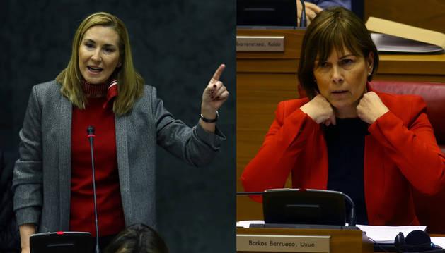 Ana Beltrán y Uxue Barkos, durante su enfrentamiento este jueves en el Parlamento foral.