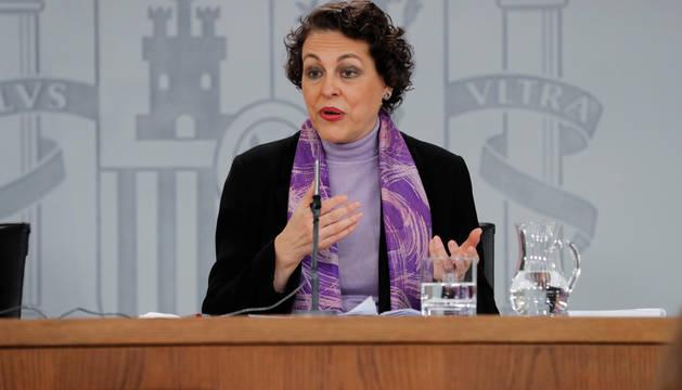 La ministra de Trabajo, Magdalena Valerio, durante una rueda de prensa celebrada tras la reunión del Consejo de Ministros.