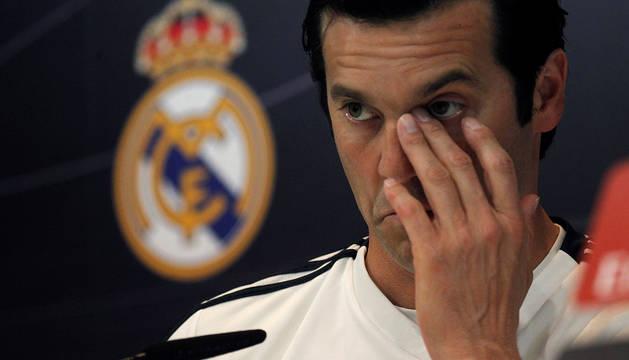 El entrenador argentino del Real Madrid, Santiago Solari, durante la rueda de prensa posterior al entrenamiento.