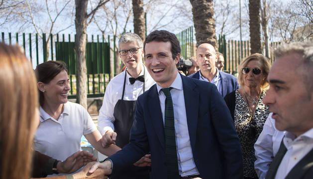 Foto del presidente del PP y candidato a la Presidencia del Gobierno, Pablo Casado, llega al Parque del Auditorio de Castellón.