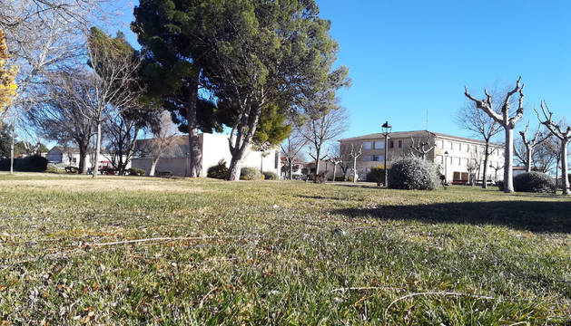 Terrenos donde se hará el instituto con el colegio, al fondo.