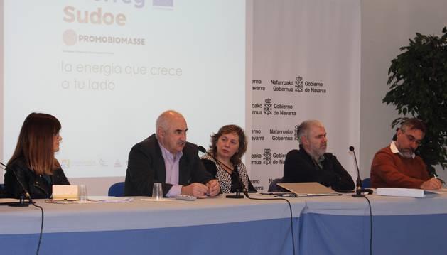 La consejera Elizalde en la presentación del proyecto europeo PromoBiomasse