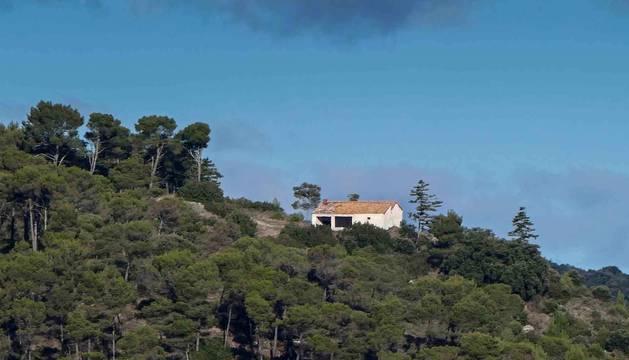 La ermita de Santa Bárbara de Estella, entre el arbolado del paraje del mismo nombre.
