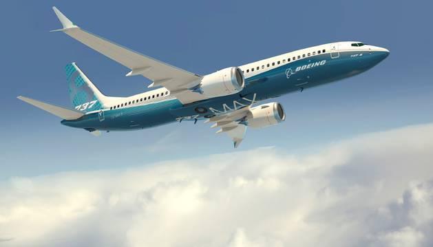 Representación artística del facilitada por Boeing Company de su modelo 737 MAX con los colores de la compañía.