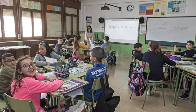 Alumnado durante una clase en el CP Virgen de la Cerca de Andosilla.