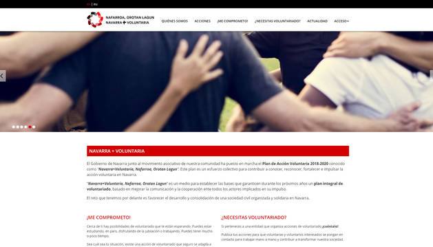 Página principal del nuevo sitio web que aglutina la oferta de voluntariado en Navarra.