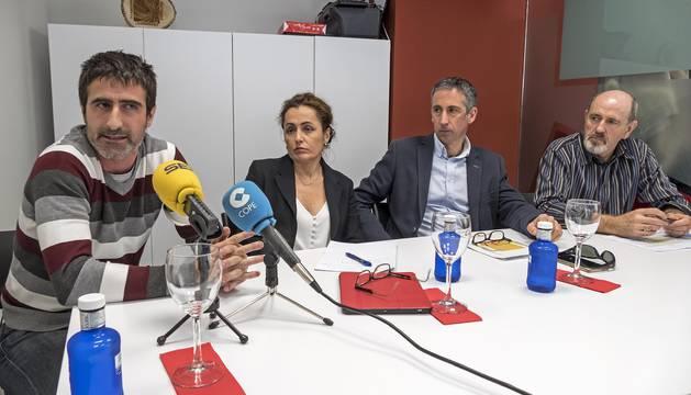 Javier Gómez, Esther Monterrubio, Guillermo Erice y Antonio Díaz en la presentación del acuerdo.