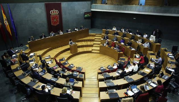 El hemiciclo del Parlamento de Navarra, durante una sesión plenaria.