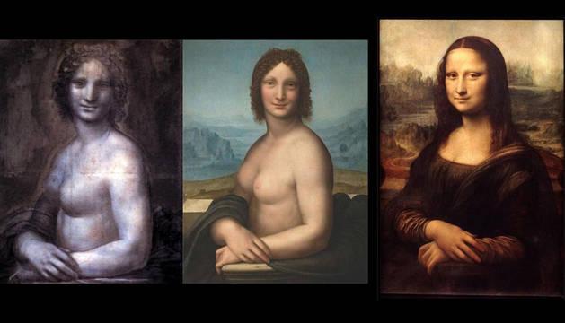 El dibujo del museo de Chantilly, la Gioconda desnuda del Hermitage y el original del Louvre.