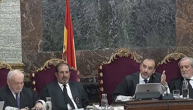 Foto del juez Lllarena y los magistrados durante el juicio al procés en el Tribunal Supremo.