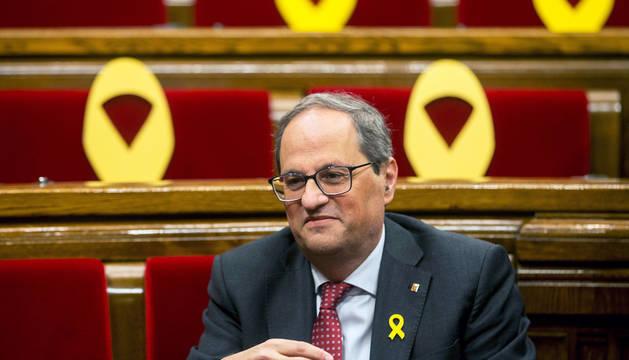 Quim Torra poco antes de la sesión de control al Gobierno en el Parlamento catalán.