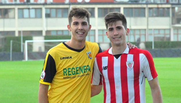 Foto de Javier y Jesús Areso Blanco en Lezama, en el partido de que les enfrentó en la primera vuelta.