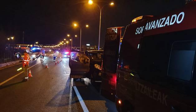 Accidente de tráfico en la Ronda de Pamplona, a la altura de Mutilva